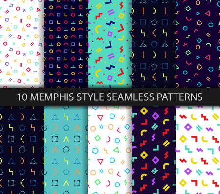 Memphis seamless pattern. Set of ten geometric textures. Wrapping paper design in 80-90s style. Vector. Colorful geometric background. Minimal abstract cover. Pattern templates in swatches panel