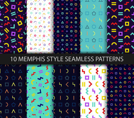 Set of ten geometric textures. Memphis seamless pattern. Wrapping paper design in 80-90s style. Vector. Colorful geometric background. Minimal abstract cover. Pattern templates in swatches panel