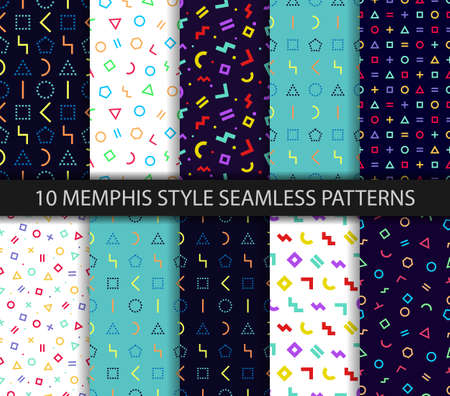 Set of ten geometric textures. Memphis seamless pattern. Vector. Wrapping paper design in 80-90s style. Colorful geometric background. Minimal abstract cover. Pattern templates in swatches panel