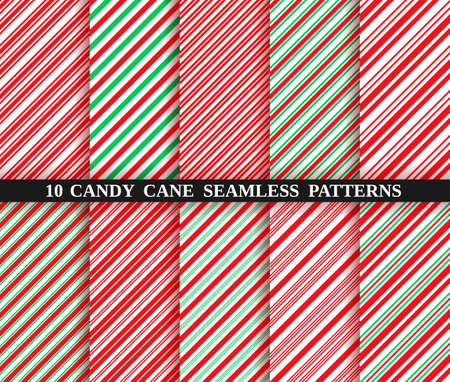 Candy cane stripe seamless pattern. Vector. Christmas candycane background red and green. Wrapping paper. Set of ten holiday textures. Peppermint caramel diagonal print. Classic winter illustration. Vectores