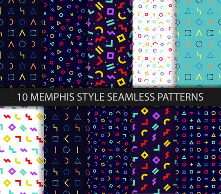 Set of ten memphis seamless pattern. Geometric textures. Vector. Wrapping paper design in 80-90s style. Colorful geometric background. Minimal abstract cover. Pattern templates in swatches panel