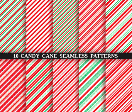 Candy cane stripe seamless pattern. Vector. Christmas candycane background. Set of ten red and green holiday textures. Wrapping paper. Peppermint caramel diagonal print. Classic winter illustration. Vectores
