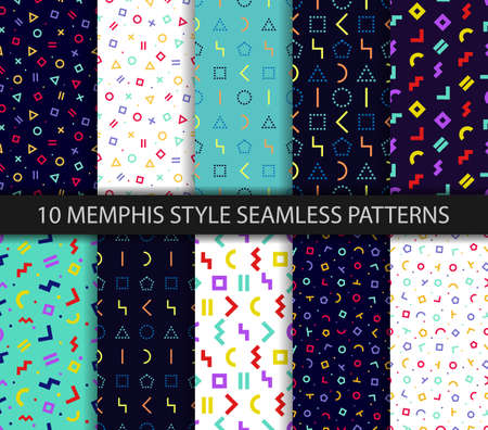 Set of ten geometric textures. Memphis seamless pattern. Vector. Wrapping paper design. Colorful geometric background. Minimal abstract cover. Pattern templates in swatches panel