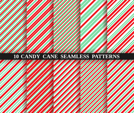 Set of ten christmas seamless pattern. Candy cane stripe texture. Vector. Holiday candycane background. Red green wrapping paper. Peppermint caramel diagonal print. Classic winter illustration.