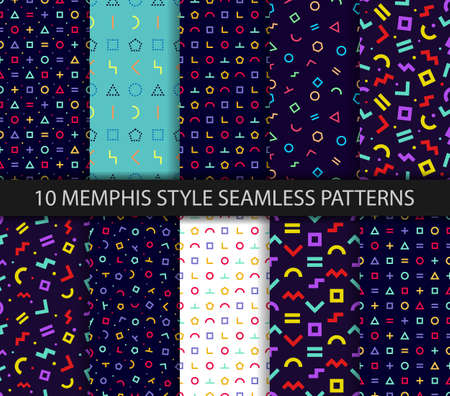 Set of ten geometric textures. Memphis seamless pattern. Minimal abstract cover. Vector. Wrapping paper design. Colorful geometric background. Pattern templates in swatches panel