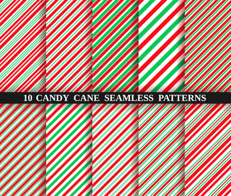 Candy cane stripe texture. Set of ten christmas seamless pattern. Vector. Holiday candycane background. Red green wrapping paper. Peppermint caramel diagonal print. Classic winter illustration.