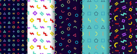 Set of five memphis seamless patterns. Geometric textures. Vector. Wrapping paper design. Colorful geometric background. Minimal abstract cover. Pattern templates in swatches panel