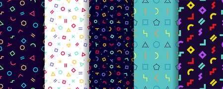 Memphis seamless pattern. Set of five geometric textures. Vector. Wrapping paper design. Colorful geometric background. Minimal abstract cover. Pattern templates in swatches panel Vectores