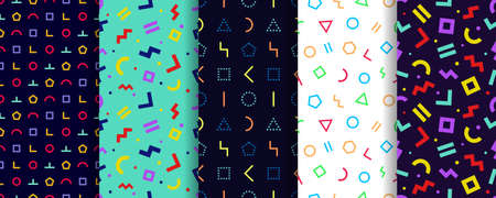 Set of five memphis seamless patterns. Wrapping paper design. Geometric textures. Vector. Colorful geometric background. Minimal abstract cover. Pattern templates in swatches panel
