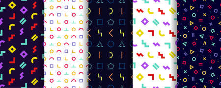 Set of five memphis seamless patterns. Geometric textures. Minimal abstract cover. Vector. Wrapping paper design. Colorful geometric background. Pattern templates in swatches panel