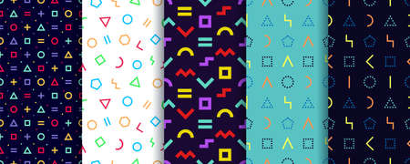 Set of five memphis seamless patterns. Geometric shapes textures. Vector. Wrapping paper design. Colorful geometric background. Minimal abstract cover. Pattern templates in swatches panel Vectores