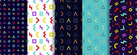 Set of five memphis seamless patterns. Colorful geometric background. Geometric textures. Vector. Wrapping paper design. Minimal abstract cover. Pattern templates in swatches panel
