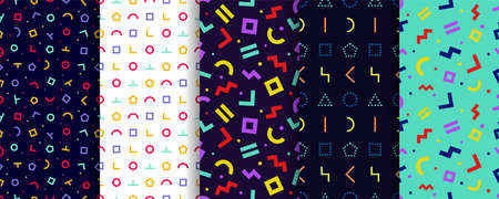 Set of five memphis seamless patterns. Wrapping paper design. Colorful geometric background. Minimal abstract cover. Vector. Pattern templates in swatches panel Vectores