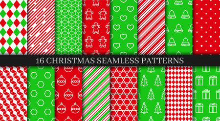 Holiday wrapping paper. Christmas seamless patterns collection. Xmas New year texture. Vectores