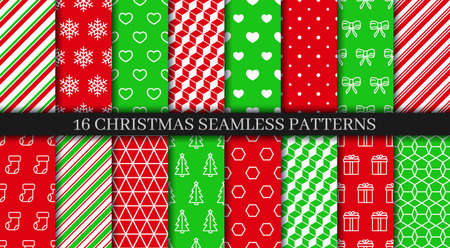 Christmas seamless patterns set. New year texture collection. Festive seamless background with holly, bells, snowflakes, candycane lollipop and geometric ornament. Holiday wrapping paper. Vector