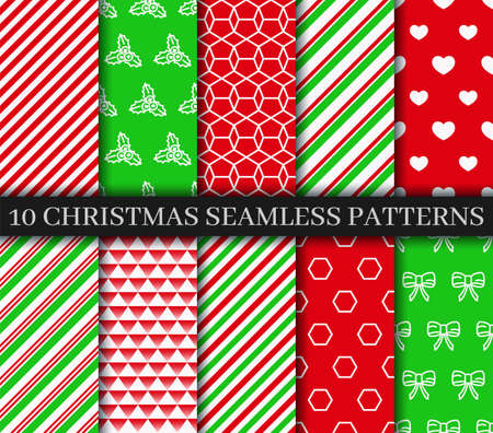 Christmas seamless patterns collection. Xmas New year texture. Festive seamless background with holly, candycane lollipop and geometric ornament. Holiday wrapping paper. Vector