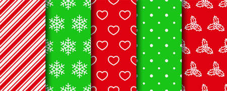Five Christmas seamless patterns set. Holiday wrapping paper. New year textures. Festive seamless background with xmas, stripes, polka dot and geometric fabric ornament. Vector
