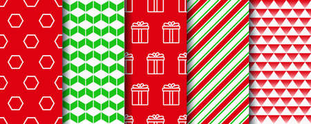 Christmas seamless patterns set. Festive seamless with xmas, candycane stripes and geometric fabric ornament. Five holiday wrapping paper swatches. New year textures. Vector