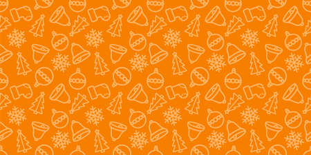 Christmas seamless pattern. New year vector texture. Festive seamless orange background with xmas icons. Holiday wrapping paper ornament. Christmas bells, socks and trees in fabric repeatable design 일러스트