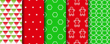 Festive seamless background with xmas, polka dot and geometric fabric ornament. Five Christmas seamless patterns set. Holiday wrapping paper. New year textures. Vector 일러스트