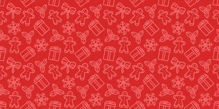 Christmas seamless pattern. New year vector texture. Festive seamless red background with xmas icons. Holiday wrapping paper ornament. Christmas bells, socks and trees in fabric repeatable design