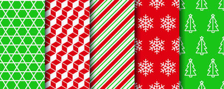 Christmas seamless patterns set. Five holiday wrapping paper swatches. Xmas textures. Festive seamless with new year, candycane stripes and geometric fabric ornament. Vector 일러스트