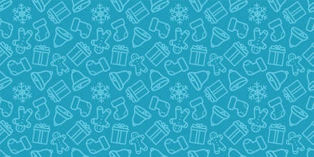 Christmas seamless pattern. New year vector texture. Festive seamless blue background with xmas icons. Holiday wrapping paper ornament. Christmas bells, socks and trees in fabric repeatable design