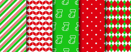 Christmas seamless patterns collection. New year wrapping paper swatches. Festive seamless background with xmas, candycane stripes, polka dot and geometric ornament. Holiday textures. Vector