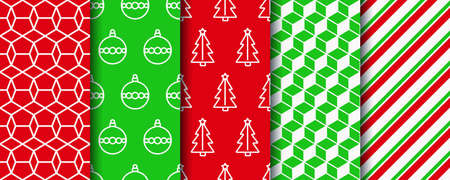 Christmas seamless patterns collection. New year texture. Festive seamless background with xmas tree, candycane stripes and geometric ornament. Holiday wrapping paper. Vector