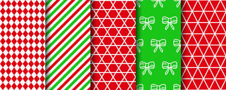 Christmas seamless patterns collection. Xmas texture swatches. Festive seamless background with new year, candycane stripes and geometric ornament. Holiday wrapping paper. Vector