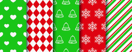 Christmas seamless patterns collection. Xmas texture swatches. Holiday wrapping paper. Festive seamless background with new year, candycane stripes, geometric and hearts ornament. Vector