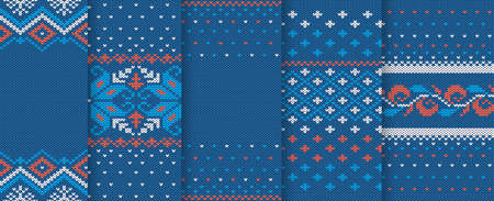 Christmas knitted texture. Seamless pattern. Set of knit blue xmas prints. Holiday wool background. Sweater fair isle ornament. Winter jumper in scandinavian style. Vector illustration.