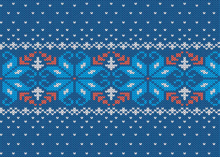 Knitted texture. Christmas seamless pattern. Knit blue xmas print. Sweater geometric background. Holiday wool ornament. Winter jumper in scandinavian style. Vector illustration. 일러스트