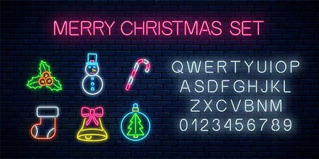 Christmas neon symbols set. Happy new year icons collection with alphabet in neon style. Xmas winter holidays signs design. Vector illustration. 일러스트