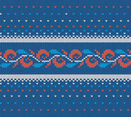 Knitted blue texture. Christmas seamless pattern. Vector illustration. Knit xmas print. Sweater geometric background. Holiday wool ornament. Winter jumper in scandinavian style