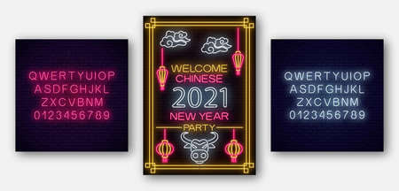Chinese New year poster White bull 2021 in neon style with alphabet. Celebrate invitation of asian lunar new year. Neon sign, bright banner. Vector illustration.