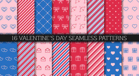 Valentine's day seamless pattern collection. Set of patterns with hearts, envelopes, gift boxes, polka dot and abstract ornament. Festive wrapping paper. Wrapping paper design templates.