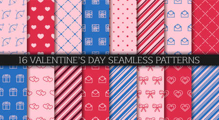 Valentine's day seamless pattern collection. Set of patterns with envelopes, hearts, gift boxes, polka dot and abstract ornament. Festive wrapping paper. Wrapping paper design templates. 일러스트