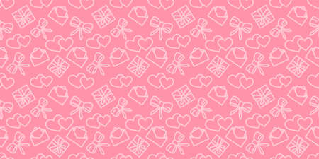 Valentines day pattern. Love holiday vector texture. Festive seamless pink background with valentine's day icons. Wrapping paper ornament. Hearts, gifts and bows in fabric repeatable design