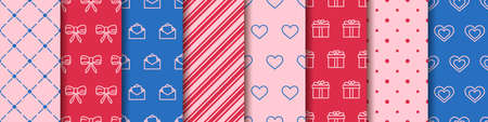 Valentine's day seamless eight patterns collection. Set of patterns with hearts, envelopes, gift boxes, polka dot and abstract ornament. Festive wrapping paper. Wrapping paper design templates.