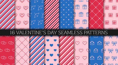 Valentine's day seamless pattern collection. Festive wrapping paper. Set of patterns with hearts, envelopes, gift boxes, polka dot and abstract ornament. Wrapping paper design templates. 일러스트