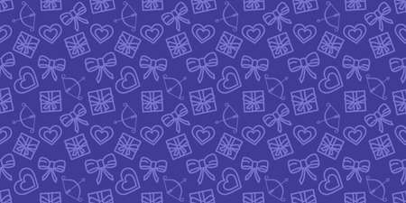 Valentines day pattern. Wrapping paper seamless ornament. Love holiday vector texture. Festive purple background with valentine's day icons. Hearts, gifts and bows in fabric repeatable design