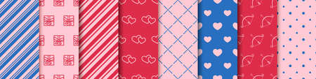 Valentine's day seamless eight patterns collection. Wrapping paper design templates. Set of patterns with hearts, envelopes, gift boxes, polka dot and abstract ornament. Festive wrapping paper.