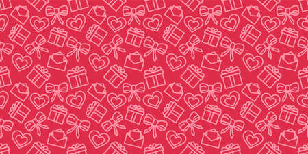Valentines day seamless pattern. Love holiday vector texture. Festive red background with valentine's day icons. Wrapping paper ornament. Hearts, gifts and bows in fabric repeatable design