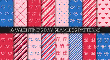 Valentine's day seamless pattern collection. Wrapping paper design templates. Festive wrapping paper. Set of patterns with hearts, envelopes, gift boxes, polka dot and abstract ornament. 일러스트