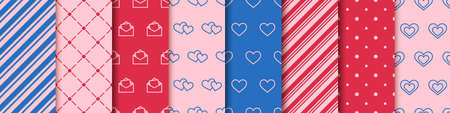 Valentine's day seamless eight patterns collection.