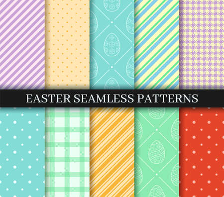 Easter seamless Patterns set. Eggs, Gingham, Polka Dot and Striped pattern designs collection. Endless texture for web page, picnic tablecloth, wrapping paper. Pattern templates in Swatches panel.