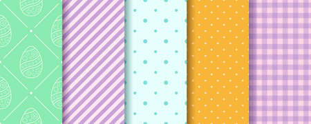 Easter seamless Patterns collection. Eggs, Gingham, Polka Dot and Striped pattern designs set. Endless texture for web, picnic tablecloth, wrapping paper. Pattern templates in Swatches panel.