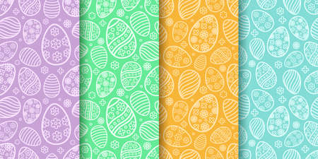 Easter seamless Patterns set in pastel colors. Eggs with ornament pattern designs collection. Endless texture for web page, picnic tablecloth, wrapping paper. Pattern templates in Swatches panel. 일러스트