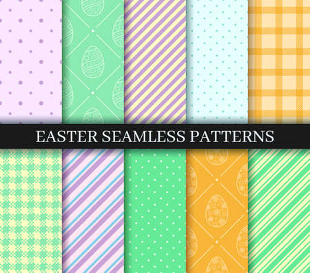 Easter seamless Patterns set. Endless texture for web page, picnic tablecloth, wrapping paper. Eggs, Gingham, Polka Dot and Striped pattern designs collection. Pattern templates in Swatches panel.